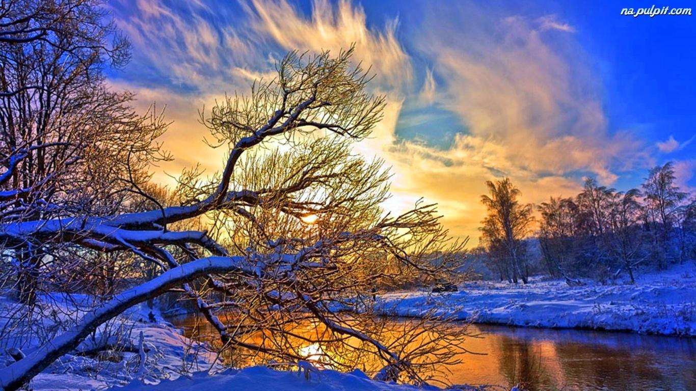 Słońca, Rzeka, Zima, Drzewa, Zachód Na Pulpit